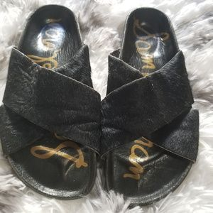Sam Edelman Adora cross strap faux fur sandal sz 6